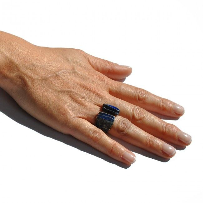 Bronze ring in blue and...